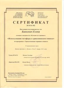 Сертификат Гипноз 001
